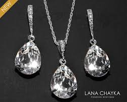swarovski earring necklace set images Crystal bridal jewelry set clear crystal earrings necklace set jpg