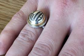 gold monogram ring 18k gold and silver monogram dome ring heidijhale