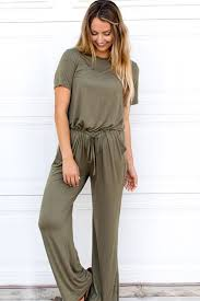 casual jumpsuit army green neck sleeve keyhole drawstring casual