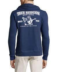 halloween sweaters true religion fleece lined hooded zip front sweatshirt in blue for