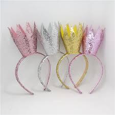 Pink Light Glitter Gold Silver Pink Light Orange Crown Girls Hairband Felt