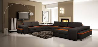casa canapé divani casa 5030 modern black and orange bonded leather sectional sofa