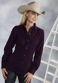 roper ladies purple snap ls old west shirt