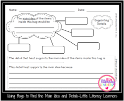 little literacy learners using bags to find the main idea and