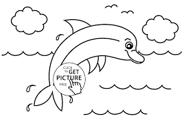 little dolphin animal coloring page for kids animal coloring