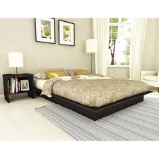 rustic modern low profile king bed frame with leather headboard
