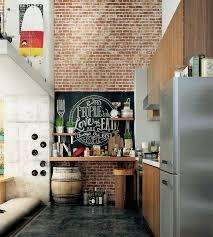 loft kitchen ideas spacious loft kitchen with brick wall kitchen designs