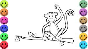 monkey coloring pages drawing for kids learn colors youtube