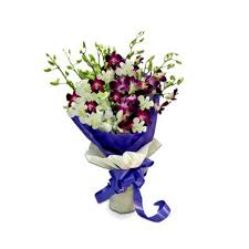 Orchid Bouquet Purple And White Orchid Bouquet Buy Gifts Online