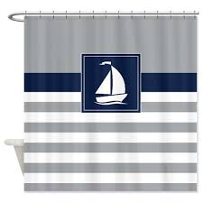 Sailboat Shower Curtains Nautical Shower Curtain Preppy Stripes With Sailboat Navy Blue