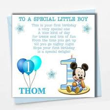 Mickey Mouse 1st Birthday Card Personalised Mickey Mouse Boy Son Grandson Godson Babies First 1st