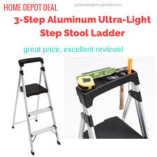 home depot step stool black friday gorilla ladders 3 step aluminum ultra light step stool ladder