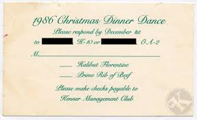 Christmas Invite Cards Kenner Christmas Dinner Dance 1988 Invitation And 1986