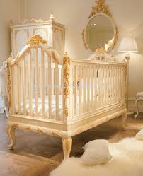 luxury wooden baby crib royal golden hand carving new born baby