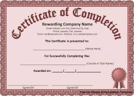 free certificate of completion template word excel templates