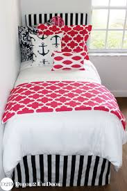 preppy pink nautical navy designer dorm bedding set