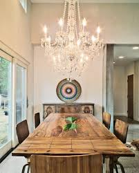 concrete chandelier dining room eclectic with high ceilings rustic