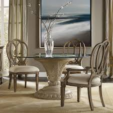 hooker furniture solana 5 piece glass top dining set with arm