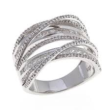 band ring 1ctw white diamond sterling silver layered band ring 8291172 hsn