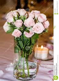Vase With Pearls Romantic Wedding Decoration With Pink Roses And Pearls Stock Photo