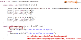 java collections hashcode and equals how to override