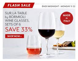 sur la table wine glasses sur la table italian flash sale eccellente milled