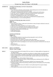resume exles objective general english by rangers schedule senior copywriter resume sles velvet jobs