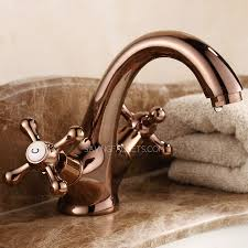 Antique Gold Bathroom Faucets Vintage Rose Gold Two Handles Single Hole Bathroom Faucets 76 99