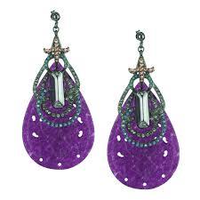 purple drop earrings purple jade and black plated metal dangle earrings