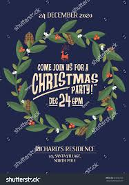 christmas wreathgarland christmas party invitation card stock