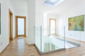 Glass Banister Staircase Stairs Glass Banister And Doors In Modern Hallway Stock Image