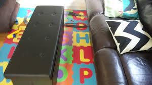 Folding Storage Ottoman Songmics Faux Leather Folding Storage Ottoman Seat Bench Footrest