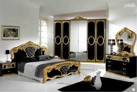 chambre a couchee sibilla 6 portes noir et dore ensemble chambre a coucher