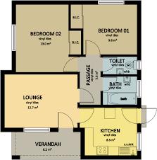 Marvellous Design 5 House Plans In Botswana 2 Bed Room Plan