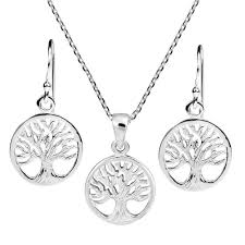 silver earrings necklace images Retro style tree of life symbol 925 sterling silver earrings jpg