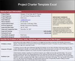 Project Templates In Excel Project Charter Template