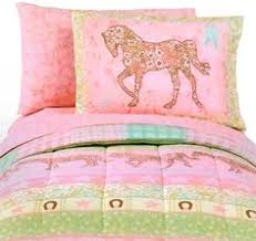Girls Horse Bedding Set by Pony Dream Twin Girls Comforter Set 5 Piece Bedding Set Horse