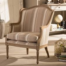 Brown Accent Chair Traditional Biege Fabric Accent Chair By Baxton Studio