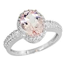 gold and morganite ring 10k white gold diamond morganite ring oval 9x7mm sizes 5