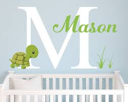 Turtle Nursery Decor Personalized Name Wall Decal Turtle Nursery Wall By Dahliadecals