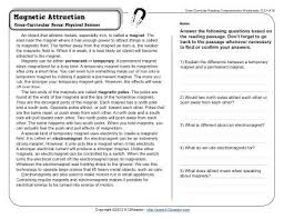 magnetic attraction 4th grade reading comprehension worksheet