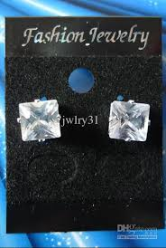 magnetic earrings men earrings magnetic earrings 8mm square clear stud zircon