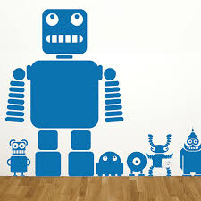 not robot wall sticker funky stickers red candy robots and aliens wall sticker