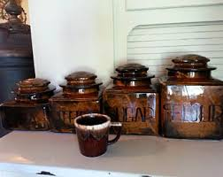 pottery kitchen canister sets pottery canisters etsy