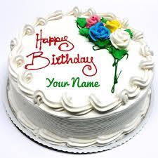 pretty vanilla shape birthday cake