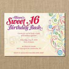 Sweet 16 Birthday Invitation Cards Sweet 16 Birthday Invitations Templates Free Sweet 16 Birthday