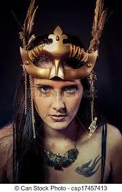 viking warrior hair viking warrior woman with gold mask long hair brunette stock