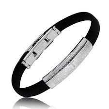 padre nuestro our lords prayer rubber stainless bracelet 7 25in