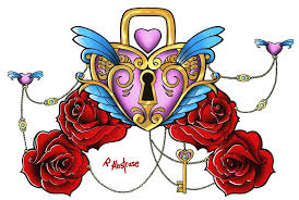 awesome colorful heart shape lock and key with roses tattoo design