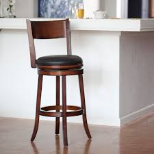 furniture height wooden swivel barstools with back and black faux